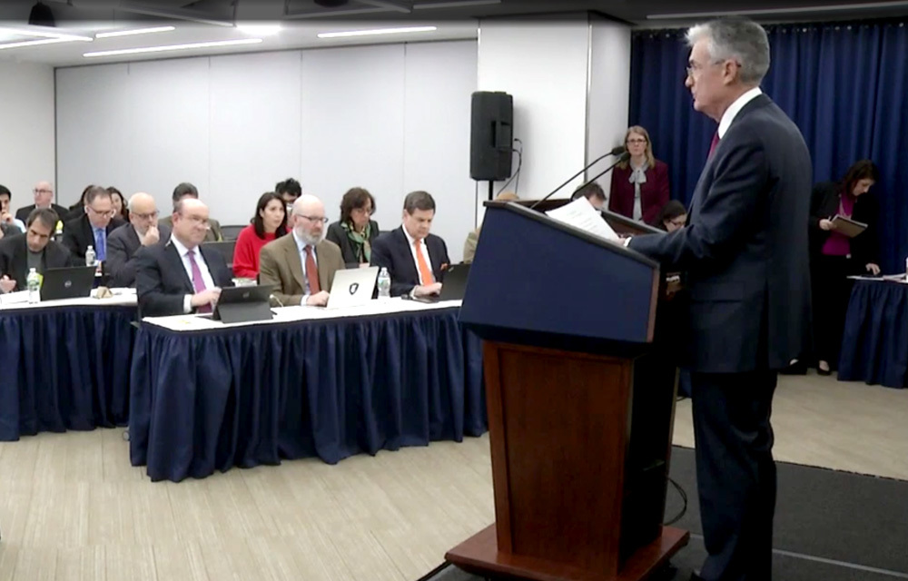 Fed Chair Powell addressing reporters