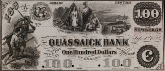 Bank note issued around 1854 by the Quassaick Bank of Newburgh, N.Y