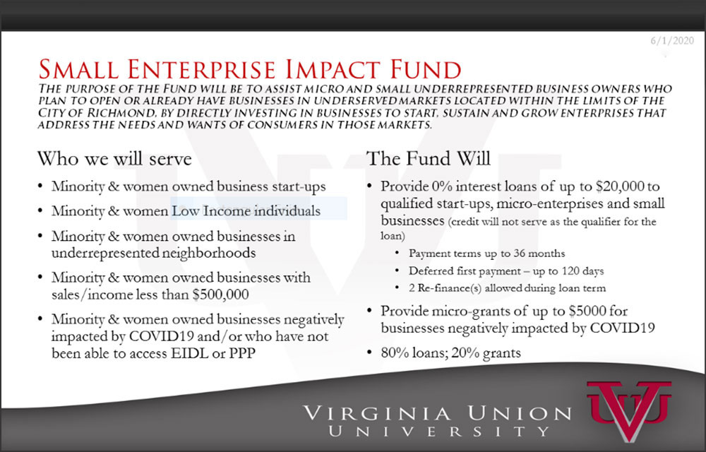 Slide from Virginia Union University Proposal