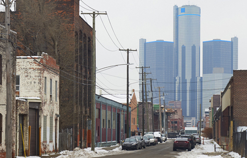 Detroit neighborhood with downtown in background