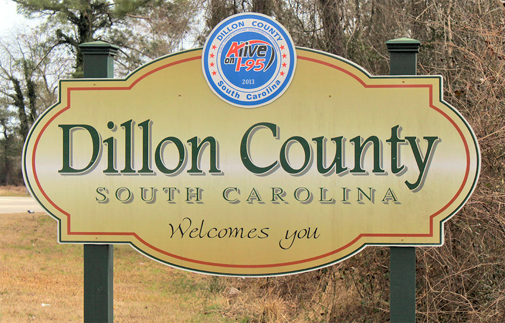 sign welcoming people to Dillon County, South Carolina