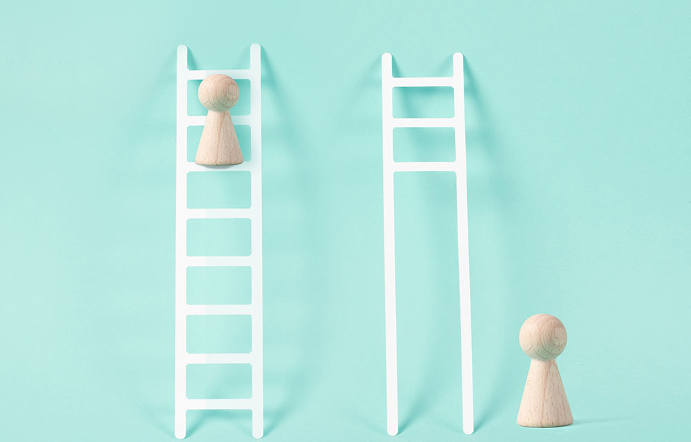 symbolic image of pawns climbing ladders and one ladder is missing rungs