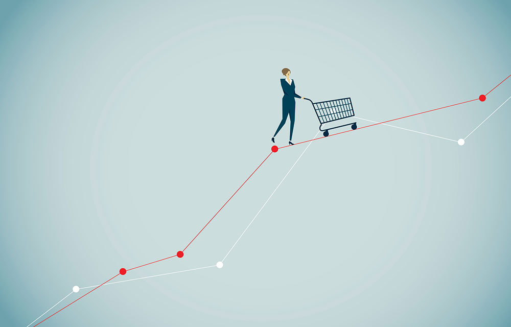 an illustration of a figure pushing a cart up a line chart