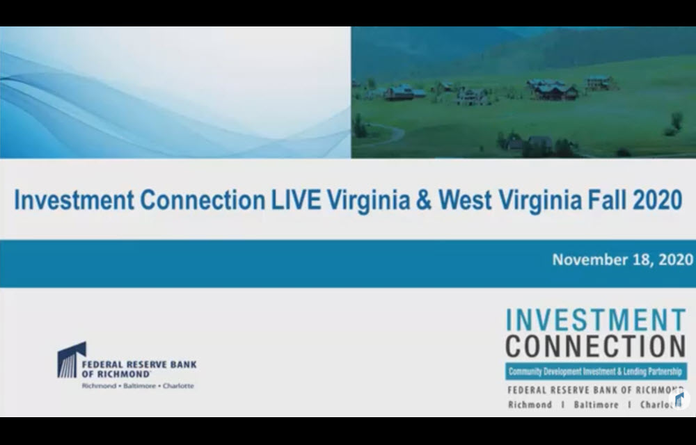 Opening slide for Investment Connection live stream pitch session 11/18/2020