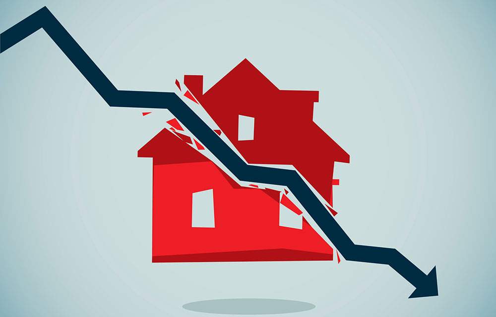 illustration of a house split by a downward trending arrow